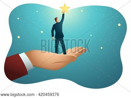 Business Vector Illustration Of Giant Hand Helping A Businessman To Reach Out For The Stars