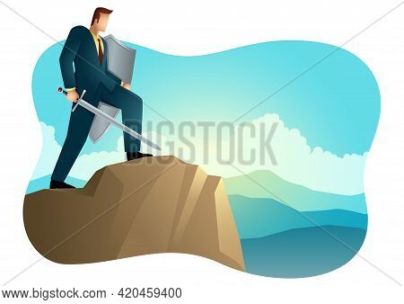 Business Vector Illustration Of An Optimistic Businessman Holding A Sword And Shield Standing On Top