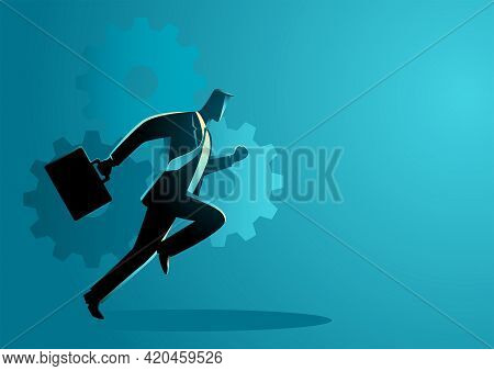 Business  Vector Illustration Of A Businessman Running With Briefcase, Business On The Move, Energet