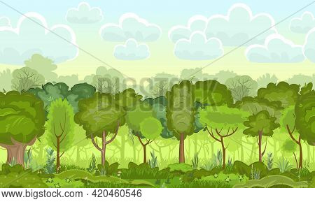 Light Foggy Forest. Illustration Seamless Landscape. Grass And Dense Foliage. In Summer. View Of The