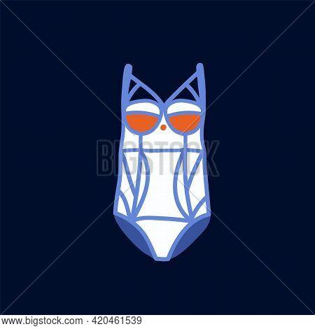 Summer Swimsuit Poster. Illustration Of Womens Beachwear. Hand-drawn Swimsuit In Vector. Vector Illu