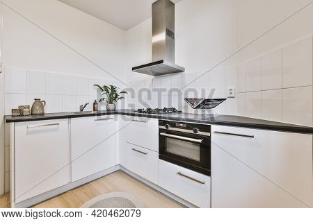 White Kitchen Cupboards With Appliances Located Near Door In Light Kitchen Of Modern Apartment
