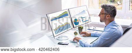 Man Advisor Using Multiple Computer Monitors With Finance Charts
