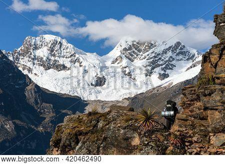 Tourist On Inca Trekking Trail, Cqoquequirao Trek, Mount Saksarayuq, Andes Mountains, Peru