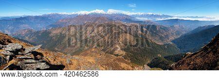 Panoramic View Of Himalayas Range From Pikey Peak - Trek From Jiri Bazar To Everest Base Camp - Nepa