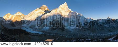 Evening Colored View Of Mount Everest With Blue Sky From Kala Patthar, Khumbu Valley, Solukhumbu, Mo