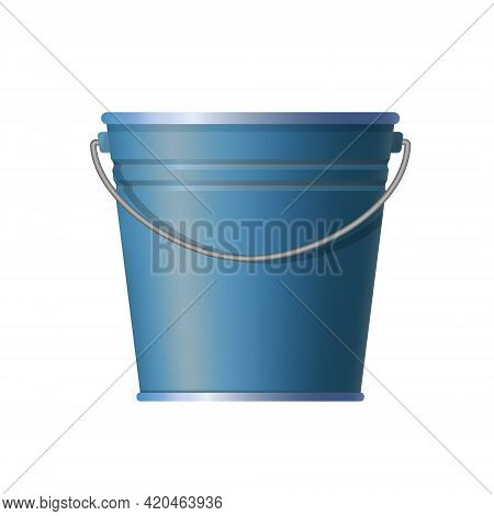 Metal Blue Bucket. Simple And Ordinary. For Housework. Old Style. Vector Illustration. Isolated Whit