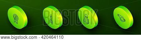 Set Isometric Line Medal, Dart Arrow, Badminton Shuttlecock And Whistle Icon. Vector