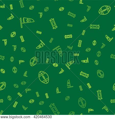 Set Line Windsurfing, Rugby Ball And Longboard Or Skateboard On Seamless Pattern. Vector