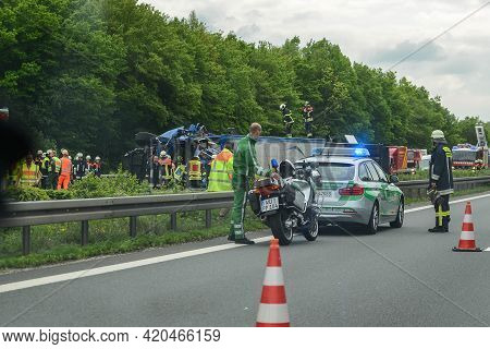 Stuttgart, Germany - June, 2016: An Accident On The Road, The Car Flew Off The Road.