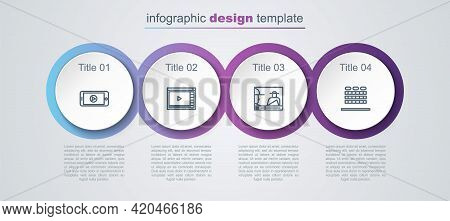 Set Line Online Play Video, , And Cinema Auditorium With Seats. Business Infographic Template. Vecto