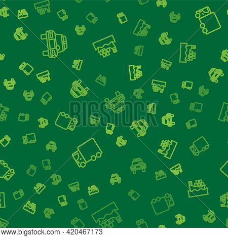 Set Line Police Car And Flasher, Delivery Cargo Truck And Cargo Ship With Boxes On Seamless Pattern.