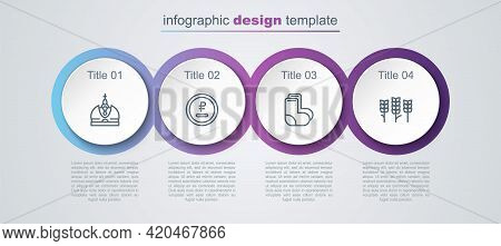 Set Line King Crown, Rouble, Ruble Currency, Valenki And Wheat. Business Infographic Template. Vecto