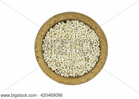 Pearl Barley In Wooden Bowl Isolated On White Background Top View