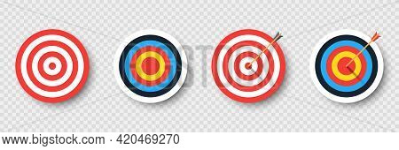 Set Of Archery Target With Arrow. Template Design For Competition Winning, Goal Achievement, Victory