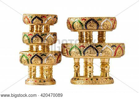 Gold Wooden Of Ancient Art Traditional Northern Thai (chiang Mai) Food Tray Called Khantoke, Isolate
