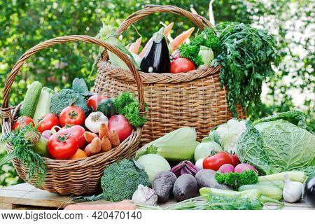 Vegetables In The Basket, Healthy Organic Fresh Food On Table