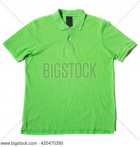 Green Short Sleeve Polo Shirt On White Background