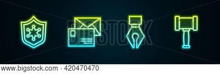 Set Line Police Badge, Envelope, Fountain Pen Nib And Judge Gavel. Glowing Neon Icon. Vector