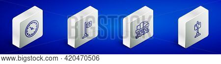 Set Isometric Line Train Station Clock, Cafe And Restaurant Location, Cargo Train Wagon And Traffic