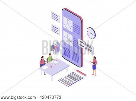 Online Education Isometric Color Vector Illustration. E Class, M Learning Infographic. Online Presen