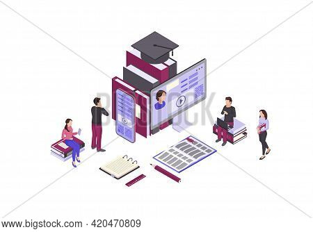 Online Education Isometric Color Vector Illustration. Internet, Distance Learning Infographic. Video