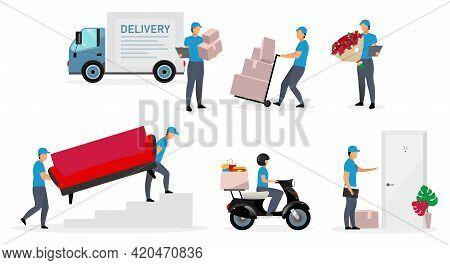 Delivery Service Flat Vector Illustrations Set. Couriers, Deliveryman, Posman, Loader With Parcels I
