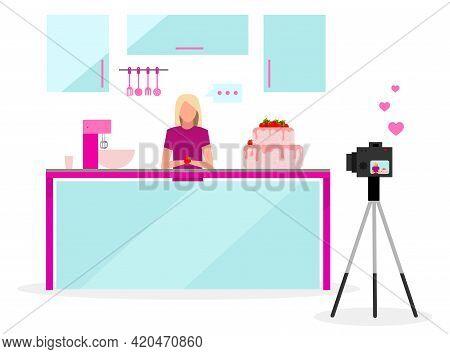 Cook Blogger Flat Vector Illustration. Filmmaker, Vlogger, Influencer Streaming Video. Confectionery