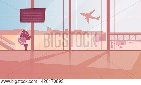 Empty Airport Waiting Room Flat Vector Illustration. Terminal Sunlit Hall With Panoramic Windows. Mo
