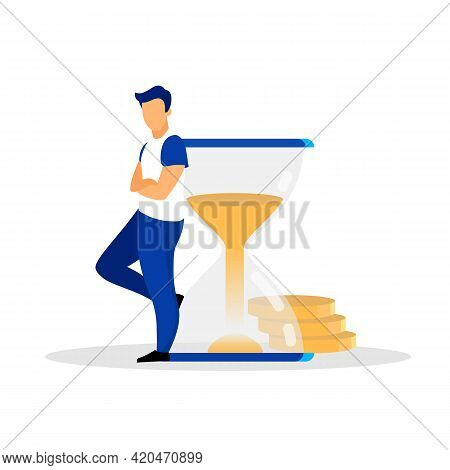 Man, Person, Human, Banker, Businessman, Male, Adult Leaning On Sandglass Flat Vector Illustration.