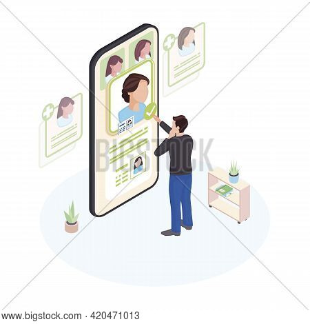 Choosing Doctor Online Isometric Illustration. Patient Selecting Physician Profile On Smartphone Scr