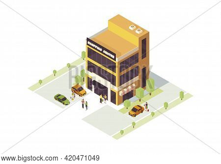 Shopping Mall Isometric Color Vector Illustration. Doing Purchases Infographic. City Shopping Center