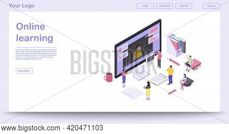 Online Learning Webpage Vector Template With Isometric Illustration. Website Interface Design. E-lea