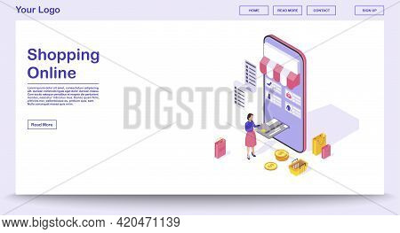 Online Shopping App Webpage Vector Template With Isometric Illustration. Website Interface Design. S