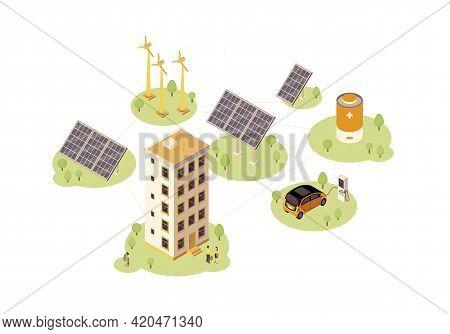 Renewable Energy Color Vector Illustration. Solar, Wind Power Production Infographic. Electric Car C
