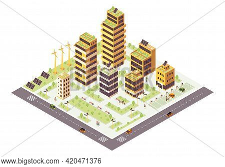 Eco City Isometric Color Vector Illustration. Smart City Infographic. Renewable Resources Production