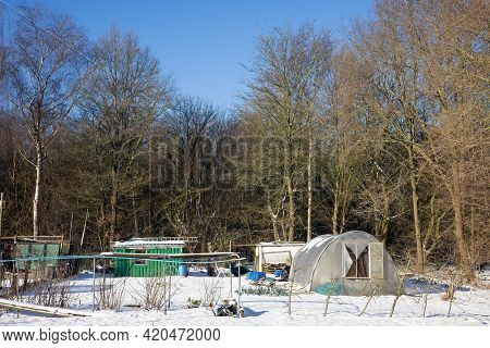 Allotment Garden Near Edge Of The Wood Covered With Snow