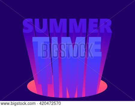 Summer Time. 80s Retro Sci-fi 3d Text. Synthwave And Retrowave Style. Design For Advertising Brochur