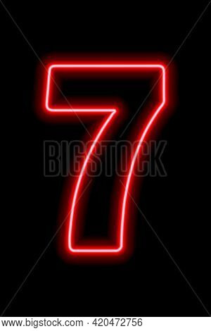 Neon Red Number 7 On Black Background. Learning Numbers, Serial Number, Price, Place. Vector Illustr