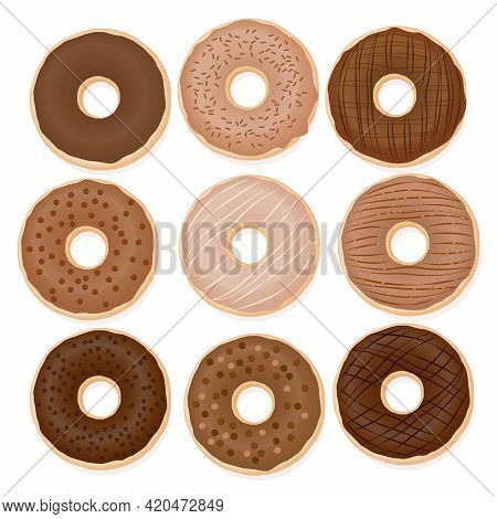 Chocolate Donuts. Nine Different Donuts With Glaze From Light To Dark Brown Chocolate. Isolated Vect