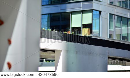 Glass And Steel Facade Of The Office Building. Glass Walls Of A Office Building - Business Backgroun