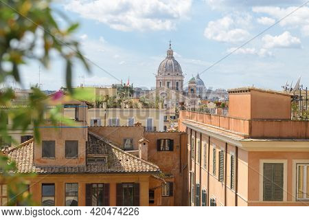 Beautiful Panorama Of Rome, View From Piazza Spagna From The Stairs Of Trinita Dei Monti