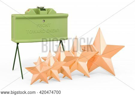 Rating Of Anti-personnel Mines Concept. Anti-personnel Mine With Five Golden Stars, 3d Rendering Iso