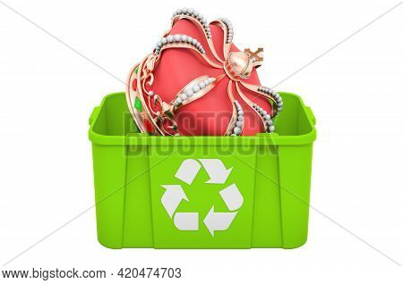 Recycling Trashcan With Golden Crown. 3d Rendering Isolated On White Background