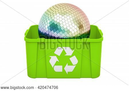 Recycling Trashcan With Mirror Disco Ball, 3d Rendering Isolated On White Background