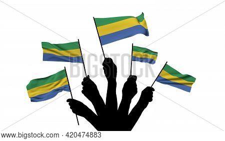Gabon National Flag Being Waved. 3d Rendering