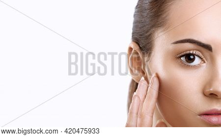 Beauty Face. Smiling Woman Touching Healthy Skin Portrait. Beautiful Happy Girl Model With Fresh Fac