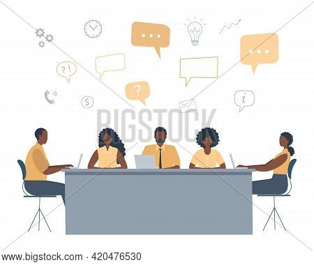 Office Workers During The Meeting. Business Concept With Icons. Black People Are Sitting At The Tabl