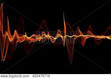 Abstract Glowing Lines Background. Wavy Form Neon Line Structure. Sound Wave Rhythm Background. Fire
