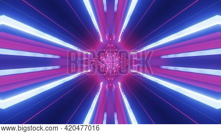 3d Render. Sci-fi Tunnel With Neon Lights. Abstract High-tech Tunnel As Background In The Style Of C